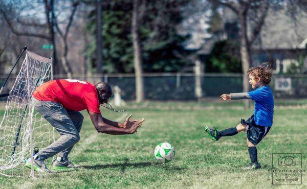 La première session du camp de printemps soccer en Français.